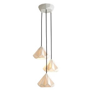 Suspension HATTON 1 E27x3 - Blanc / Câble noir
