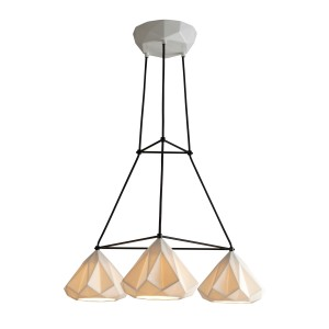 Suspension HATTON 1 TRIANGULAR E27x3 - Blanc / Câble noir
