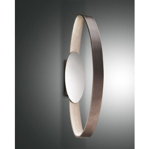 Applique murale LED Fabas Luce Gaby L.53 IP44 - Marron