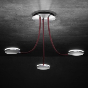 Suspension LED tête Flex 3x12W Alu / Rouge