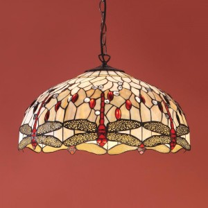 Suspension Tiffany Dragonfly Beige D.50