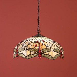 Suspension Tiffany Dragonfly Beige D.40