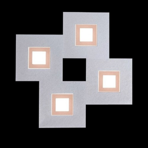 Applique / Plafonnier Karree 4 x Led - Aluminium/Cuivre