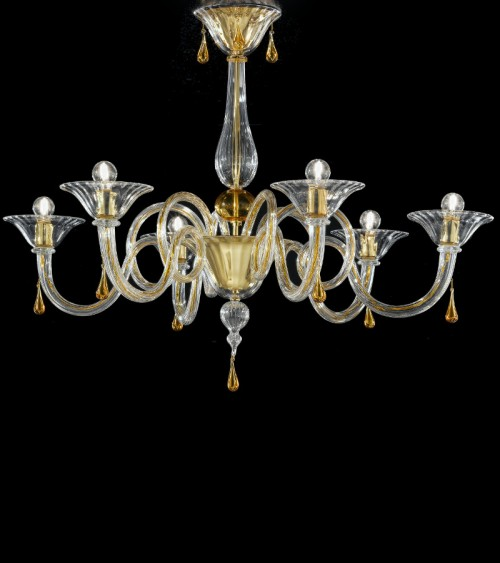 Lustre Verre de Murano cristal ambré 6L