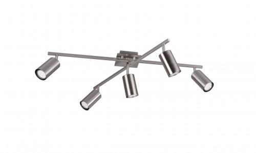 Plafonnier spots orientables nickel 5xGU10