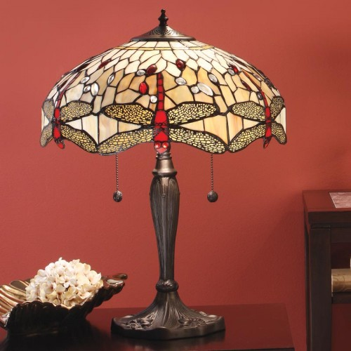Lampe Tiffany Dragonfly Beige H.58