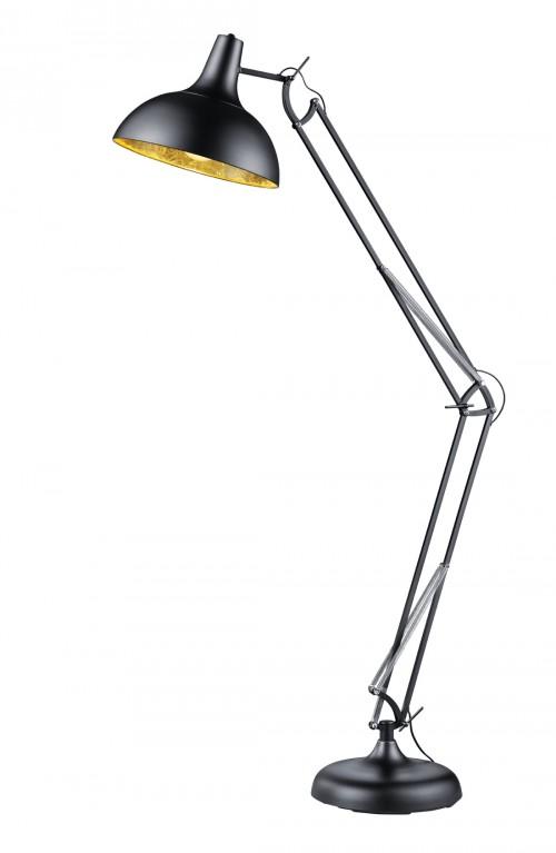 Lampadaire articulé industriel Salvador noir et doré