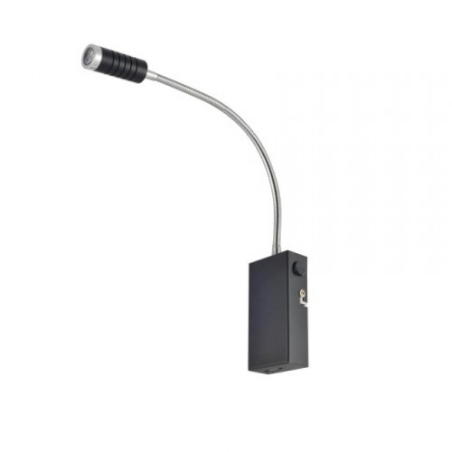 Applique liseuse LED en métal noir mat/aluminium