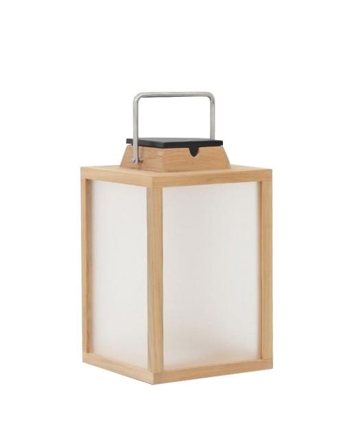 Lanterne d'extérieur Tradition 300 lm - Solaire et rechargeable - H.40 Teck