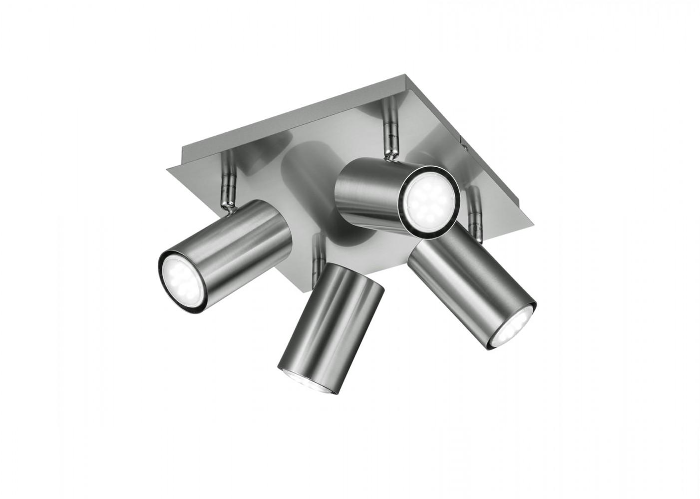 Plafonnier spots orientables nickel 4xGU10