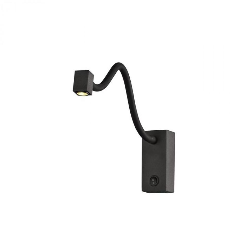Applique liseuse Boavista 185 lumens - Diffuseur carré - Noir