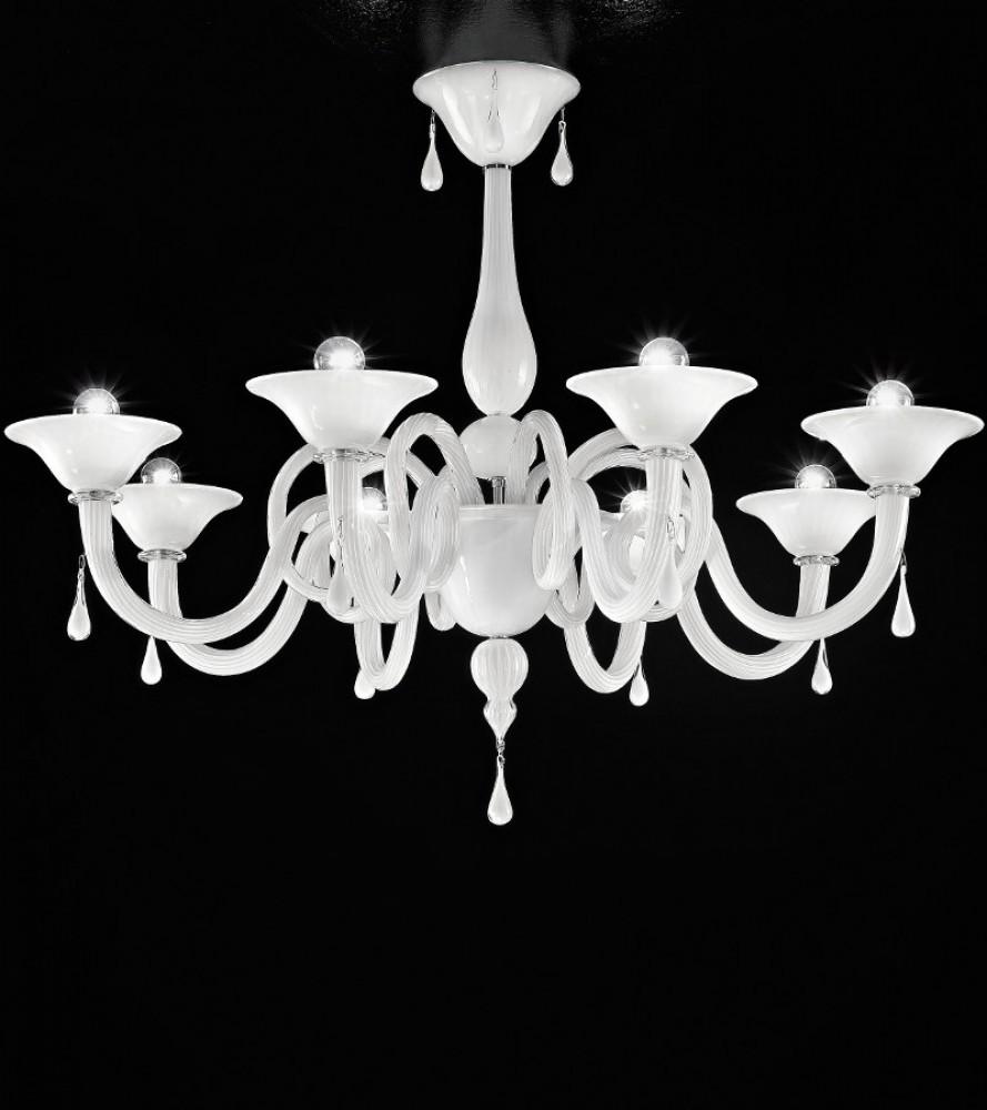 Lustre Verre de Murano blanc laiteux 8L