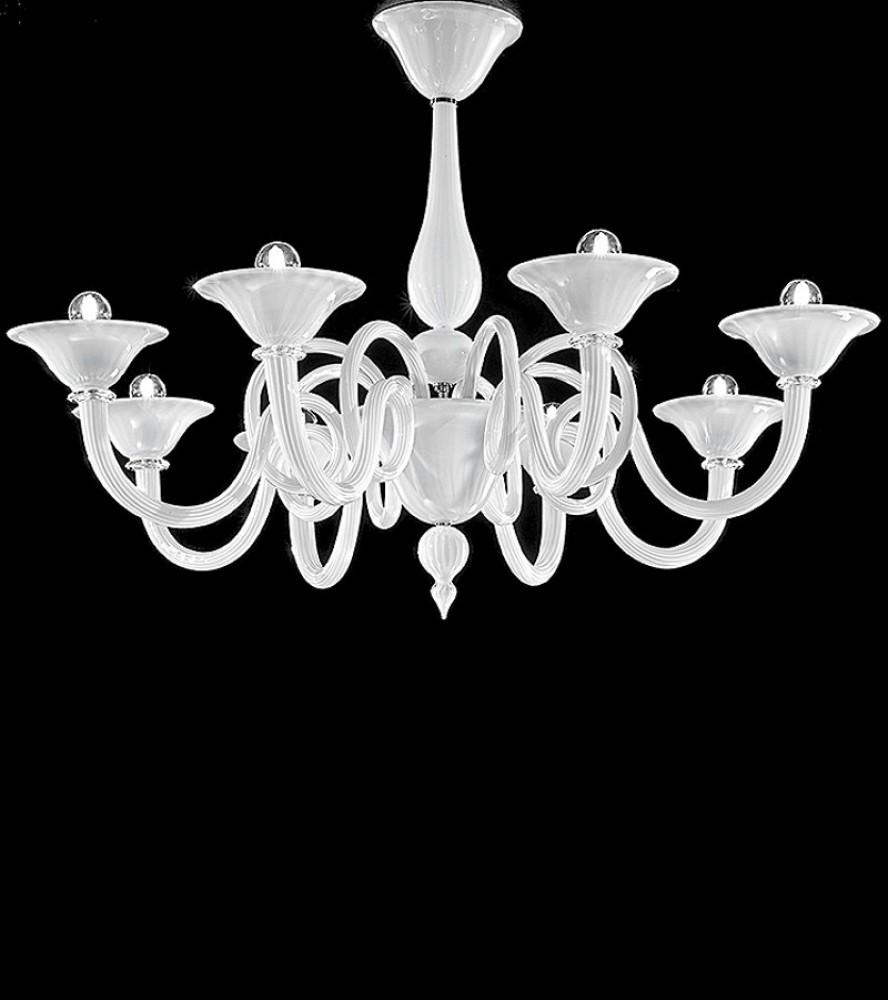 Lustre de Murano verre blanc laiteux 8L