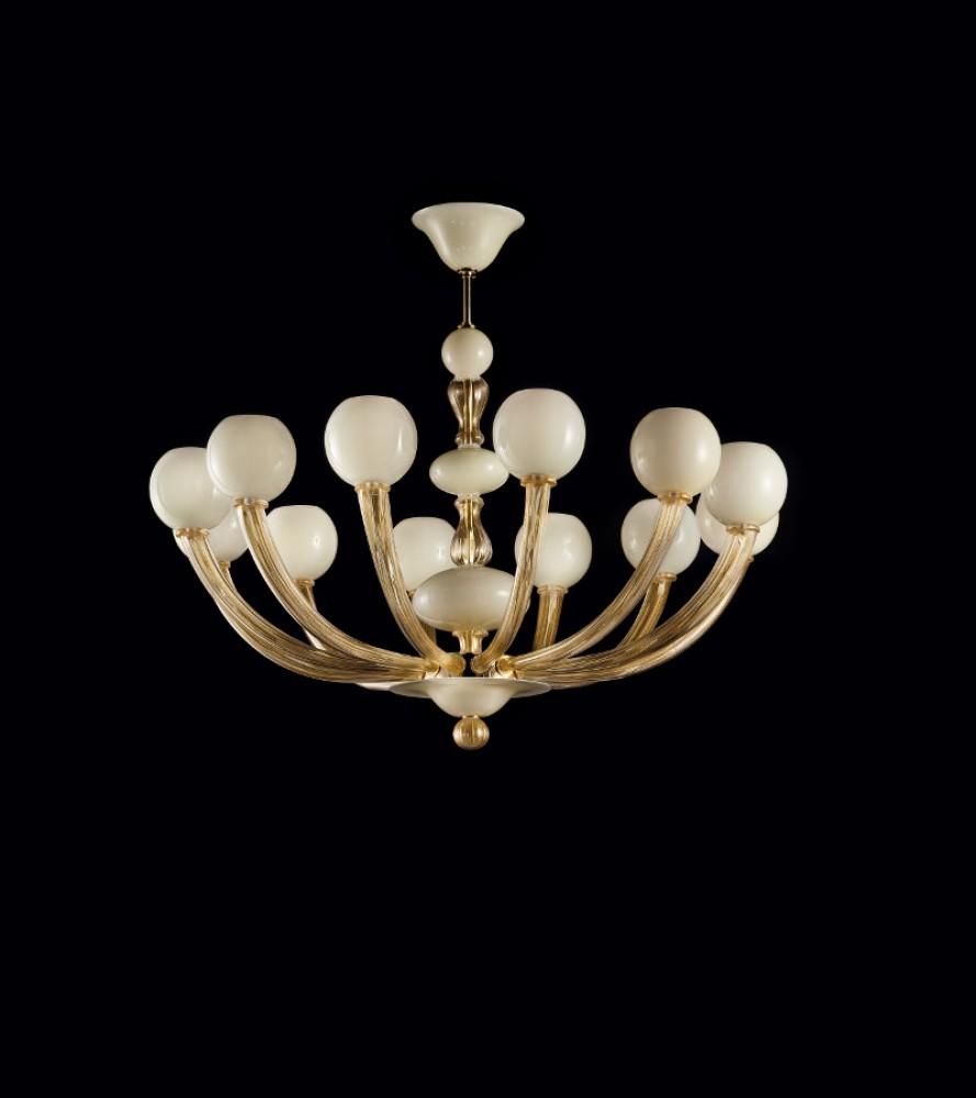 Lustre Verre de Murano Gritti blanc doré 24 Kt