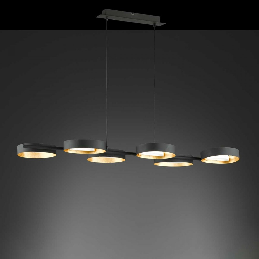 Suspension LED Smith noir et or