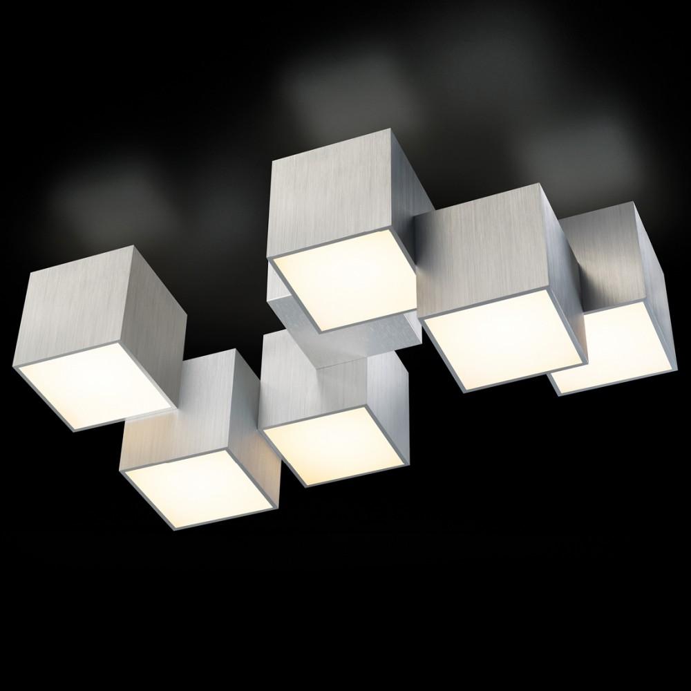 Plafonnier LED Rocks 6x680lm Aluminium brossé
