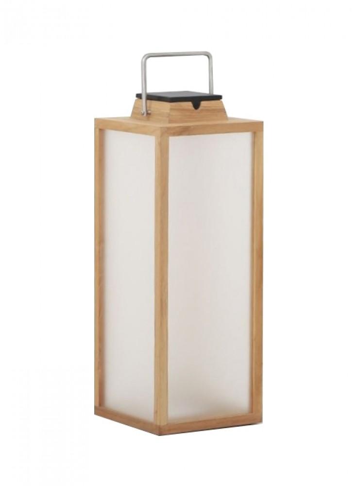 Lanterne d'extérieur Tradition 300 lm - Solaire et rechargeable - H.65 teck