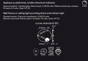 Applique/Plafonnier LED Curve Standard D.60 - Le Deun
