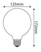 Ampoule LED globe D.125 4W ambrée