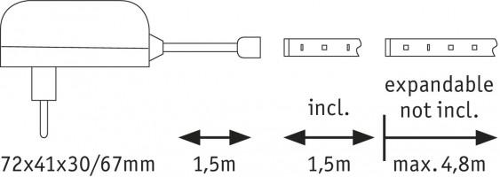 Kit base ruban LED 150cm 5.5W