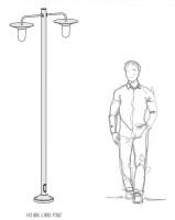 Lampadaire d'extérieur Cooper 2x150W