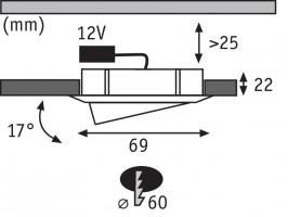 Spot encastré meuble Micro Line orientable - Acier brossé 20W / G4