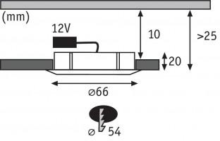 Spot encastré meuble Micro Line Structure chrome max. 20 W / G4