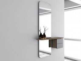 Miroir meuble one more look blanc perle