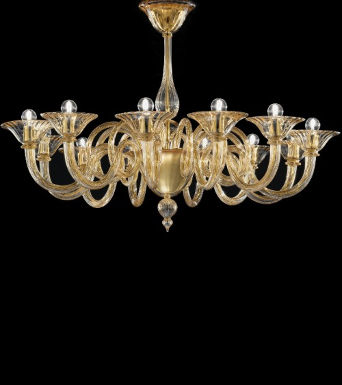 Lustre de Murano verre ambré 12L